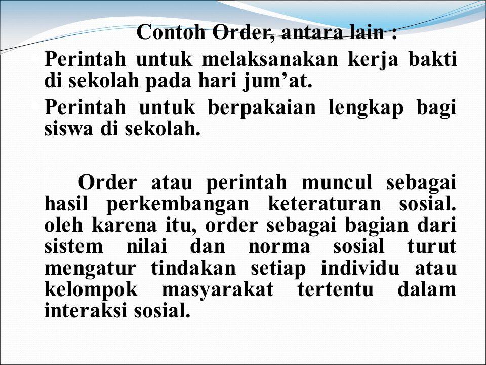 Contoh Order, antara lain :