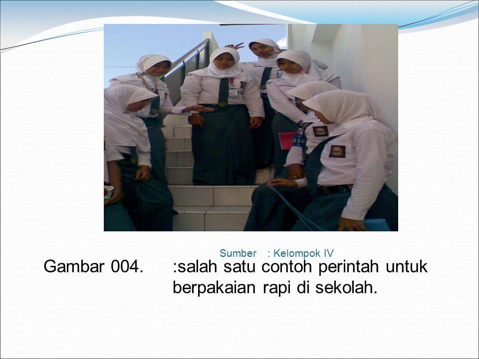 Sumber : Kelompok IV Gambar 004. :salah satu contoh perintah untuk berpakaian rapi di sekolah.