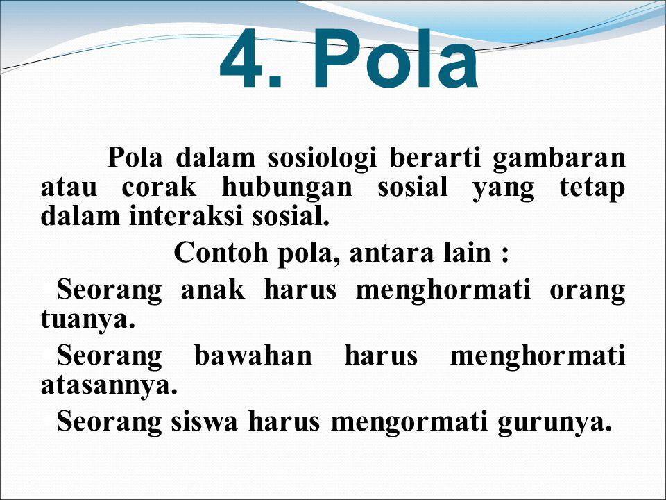 4. Pola Contoh pola, antara lain :