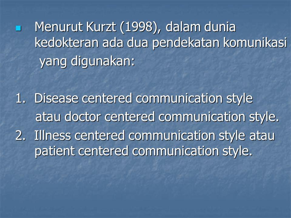 Menurut Kurzt (1998), dalam dunia kedokteran ada dua pendekatan komunikasi