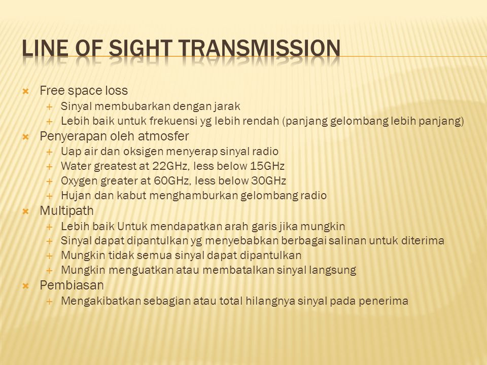 Line of Sight Transmission