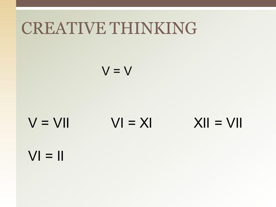 CREATIVE THINKING V = V V = VII VI = XI XII = VII VI = II