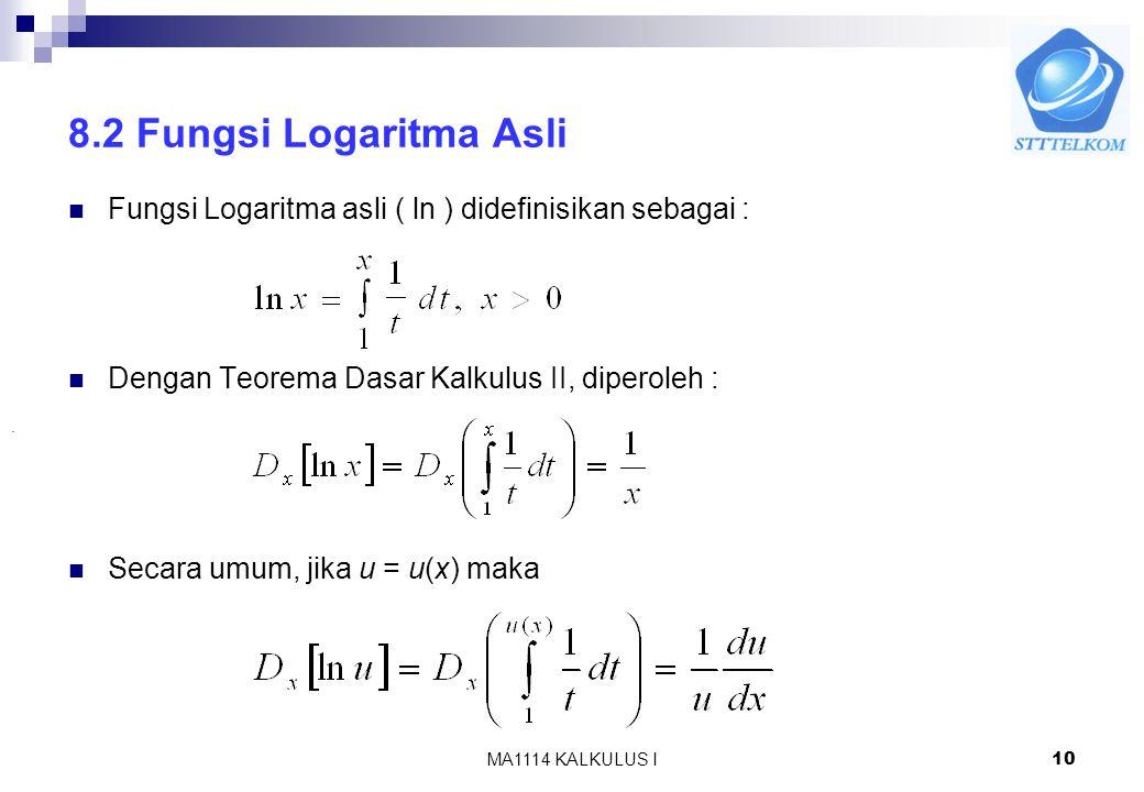 8.2 Fungsi Logaritma Asli Fungsi Logaritma asli ( ln ) didefinisikan sebagai : Dengan Teorema Dasar Kalkulus II, diperoleh :