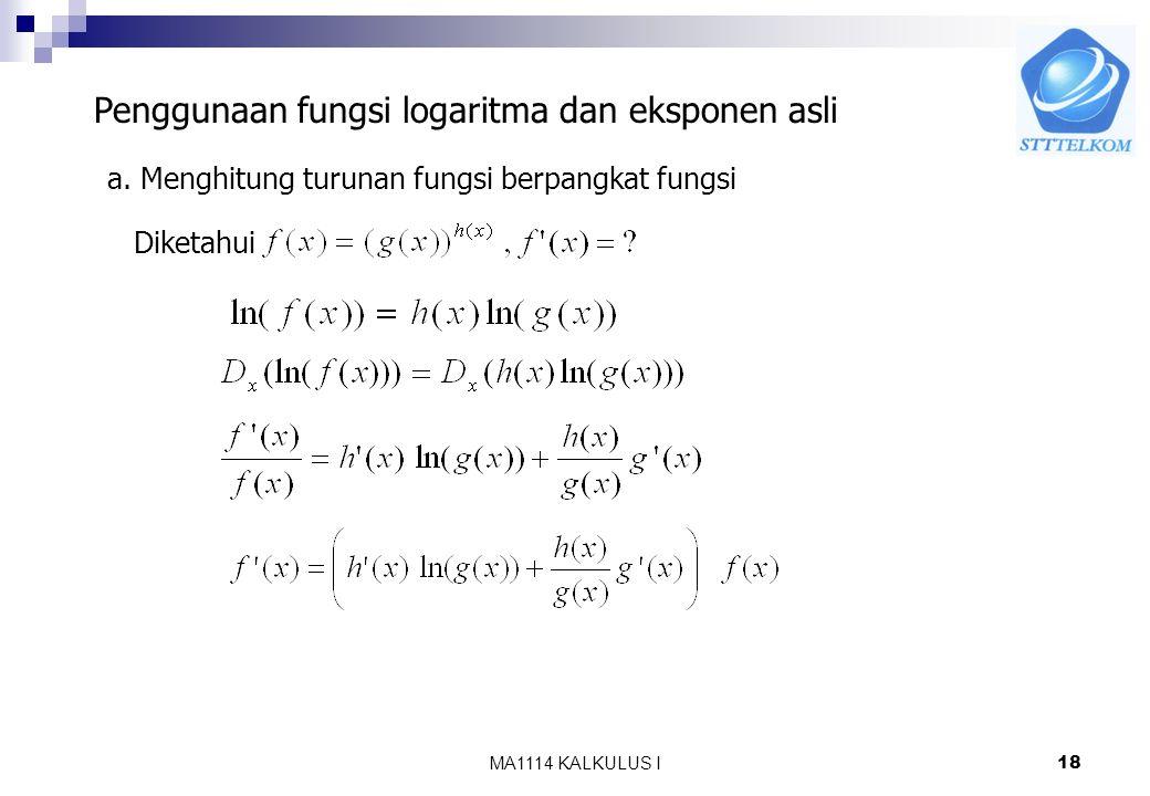 Penggunaan fungsi logaritma dan eksponen asli