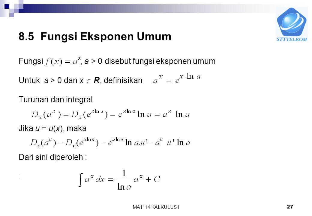 8.5 Fungsi Eksponen Umum Fungsi , a > 0 disebut fungsi eksponen umum. Untuk a > 0 dan x  R, definisikan.