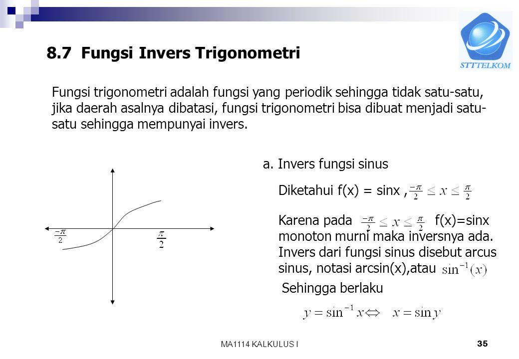 8.7 Fungsi Invers Trigonometri