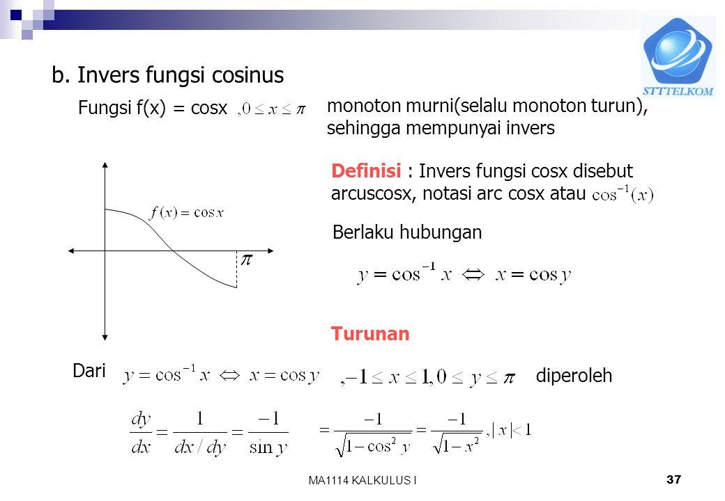 b. Invers fungsi cosinus