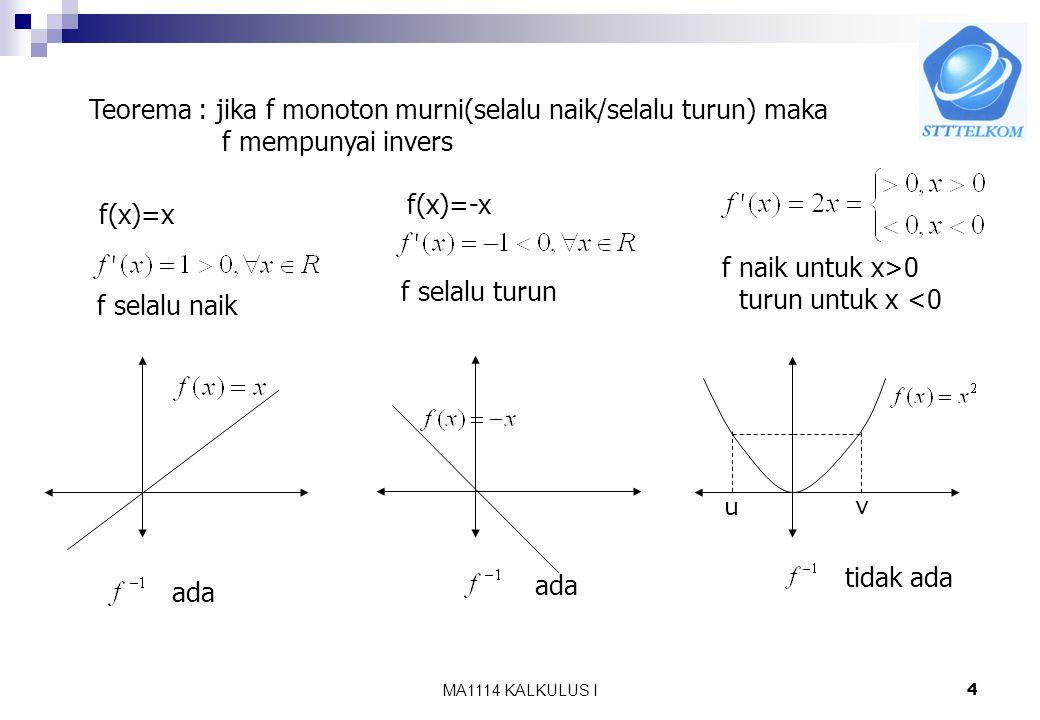 Teorema : jika f monoton murni(selalu naik/selalu turun) maka