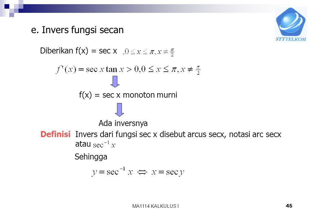 e. Invers fungsi secan Diberikan f(x) = sec x