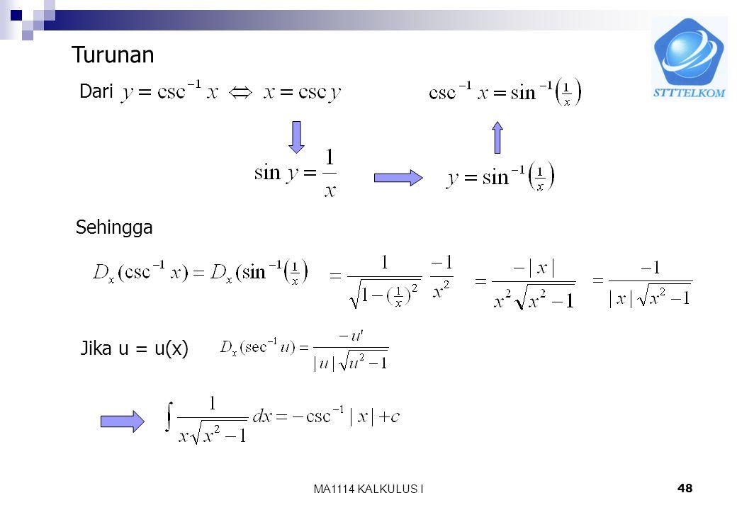 Turunan Dari Sehingga Jika u = u(x) MA1114 KALKULUS I