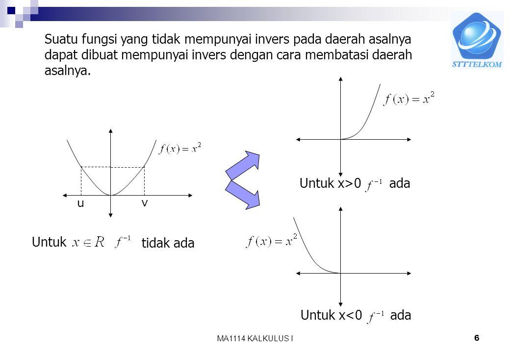 Suatu fungsi yang tidak mempunyai invers pada daerah asalnya