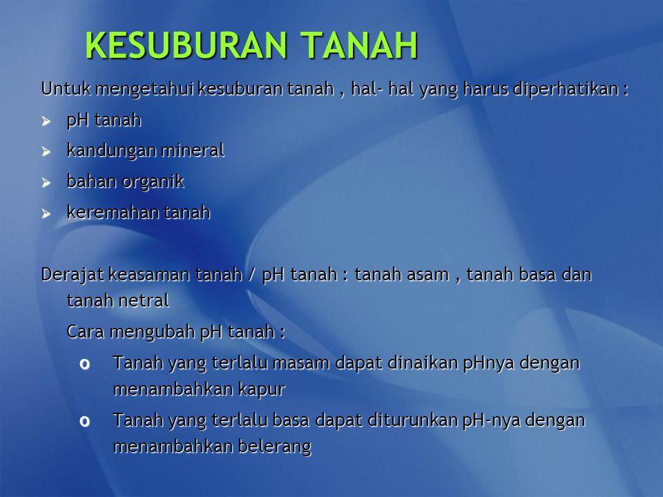 KESUBURAN TANAH Untuk mengetahui kesuburan tanah , hal- hal yang harus diperhatikan : pH tanah. kandungan mineral.