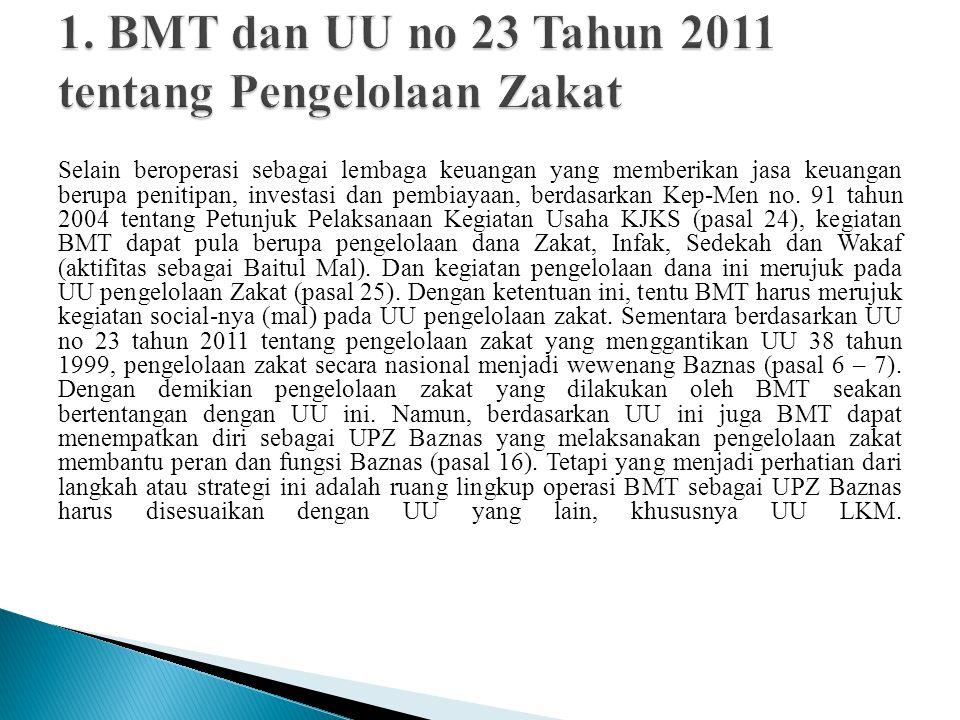 1. BMT dan UU no 23 Tahun 2011 tentang Pengelolaan Zakat
