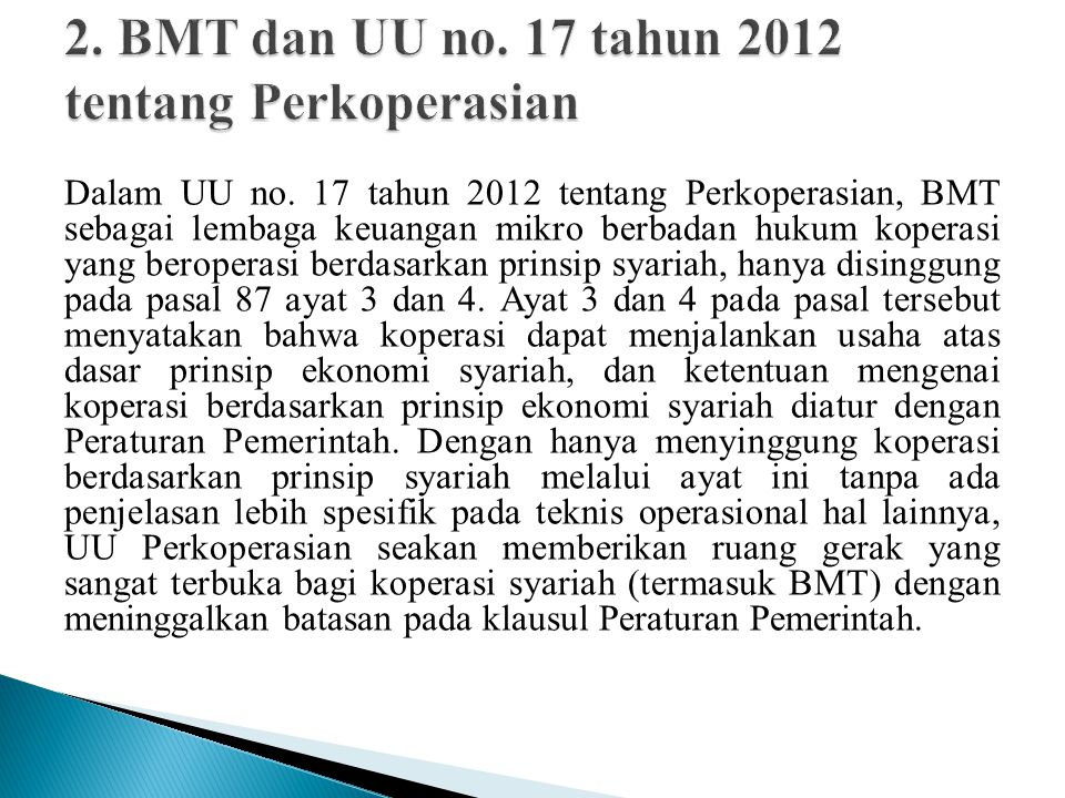 2. BMT dan UU no. 17 tahun 2012 tentang Perkoperasian