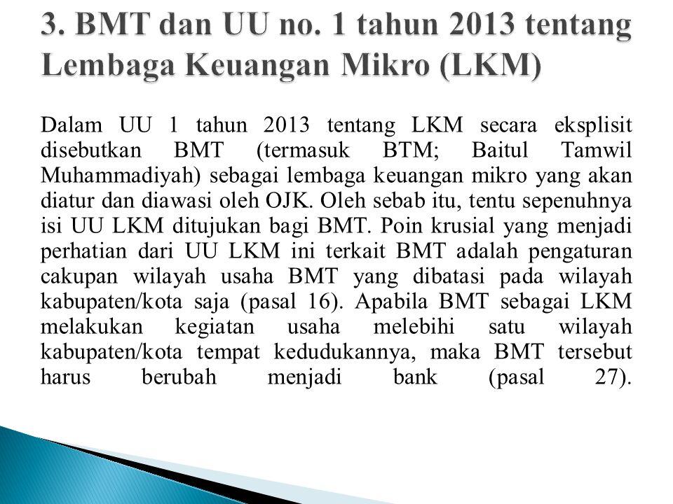 3. BMT dan UU no. 1 tahun 2013 tentang Lembaga Keuangan Mikro (LKM)