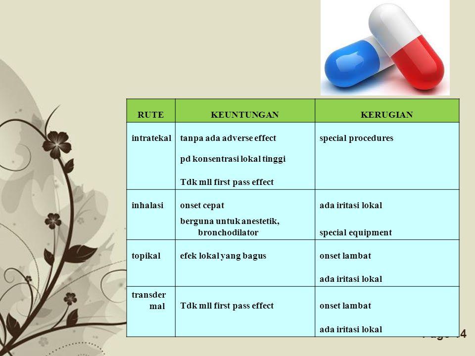 RUTE KEUNTUNGAN. KERUGIAN. intratekal. tanpa ada adverse effect. special procedures. pd konsentrasi lokal tinggi.