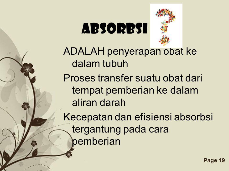 ADALAH penyerapan obat ke dalam tubuh