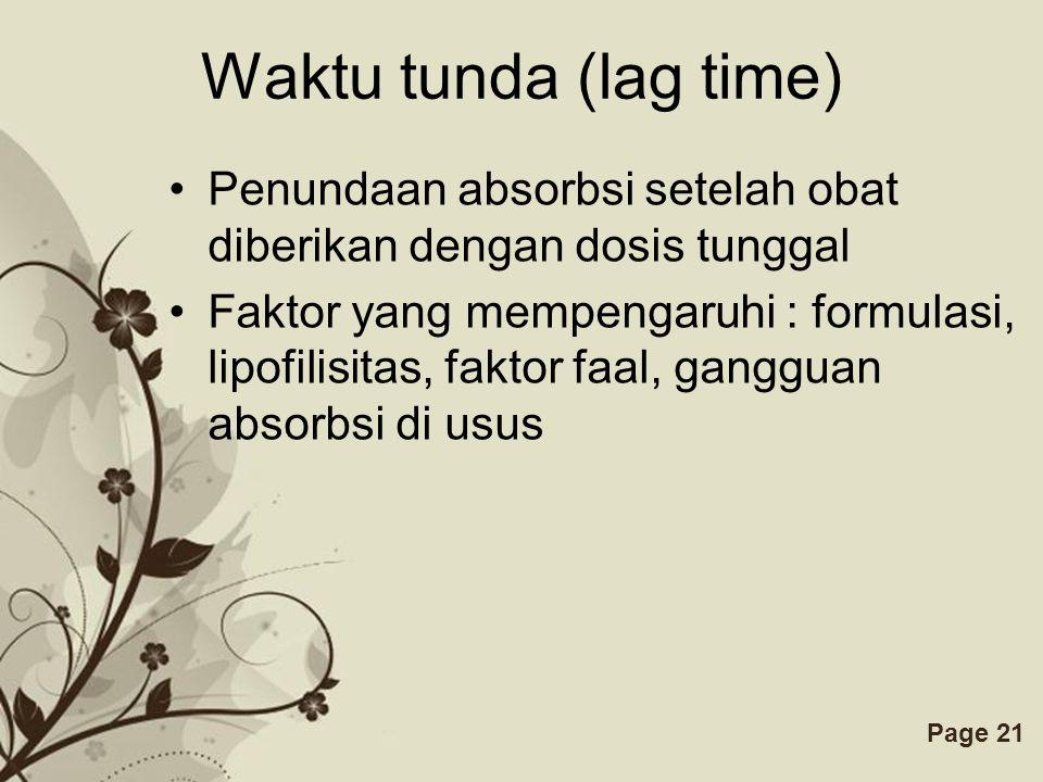 Waktu tunda (lag time) Penundaan absorbsi setelah obat diberikan dengan dosis tunggal.