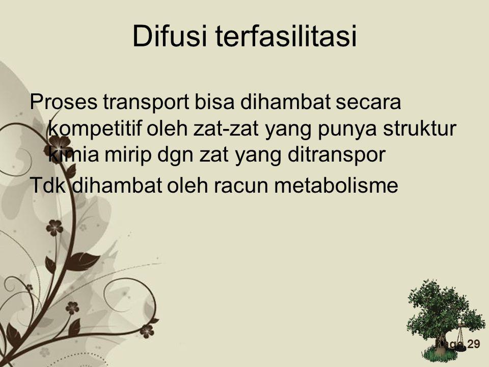 Difusi terfasilitasi Proses transport bisa dihambat secara kompetitif oleh zat-zat yang punya struktur kimia mirip dgn zat yang ditranspor.