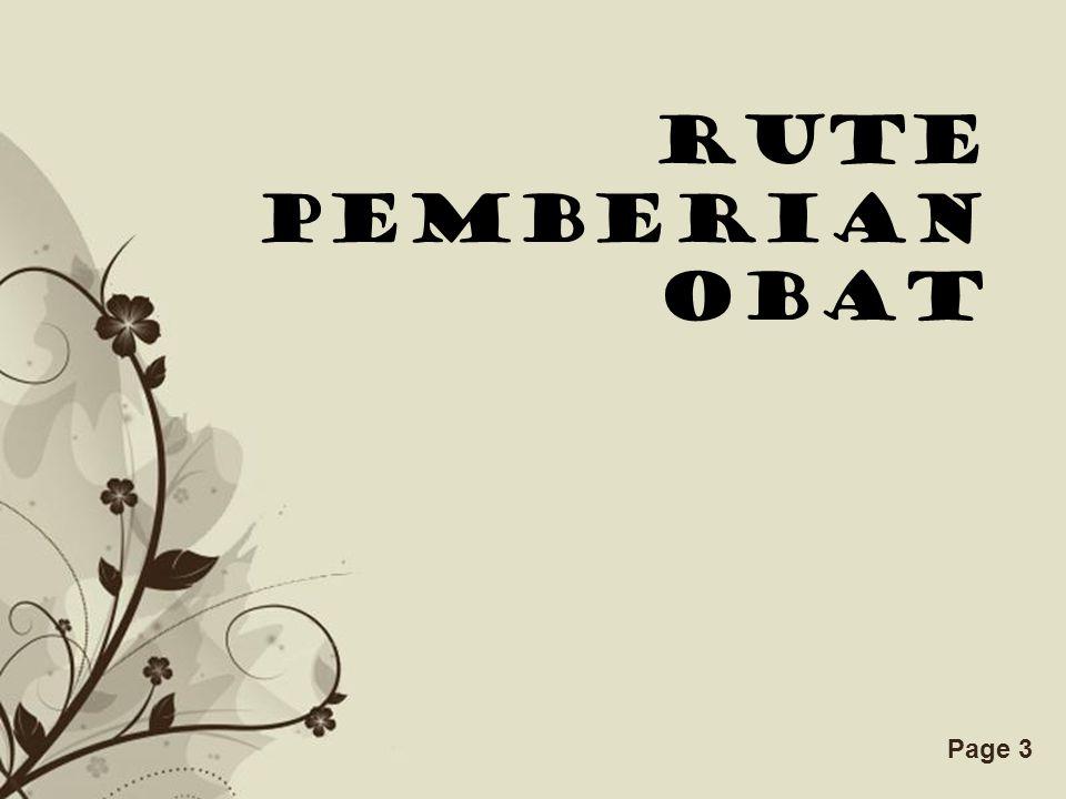 RUTE PEMBERIAN OBAT