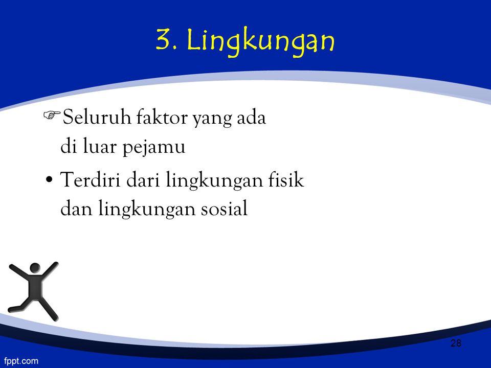 3. Lingkungan Seluruh faktor yang ada di luar pejamu