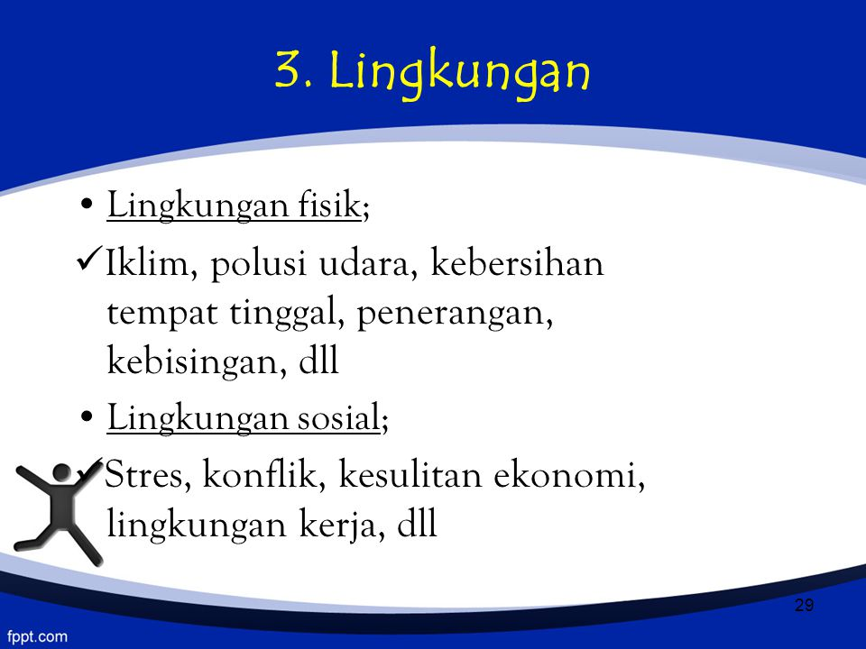 3. Lingkungan Lingkungan fisik;