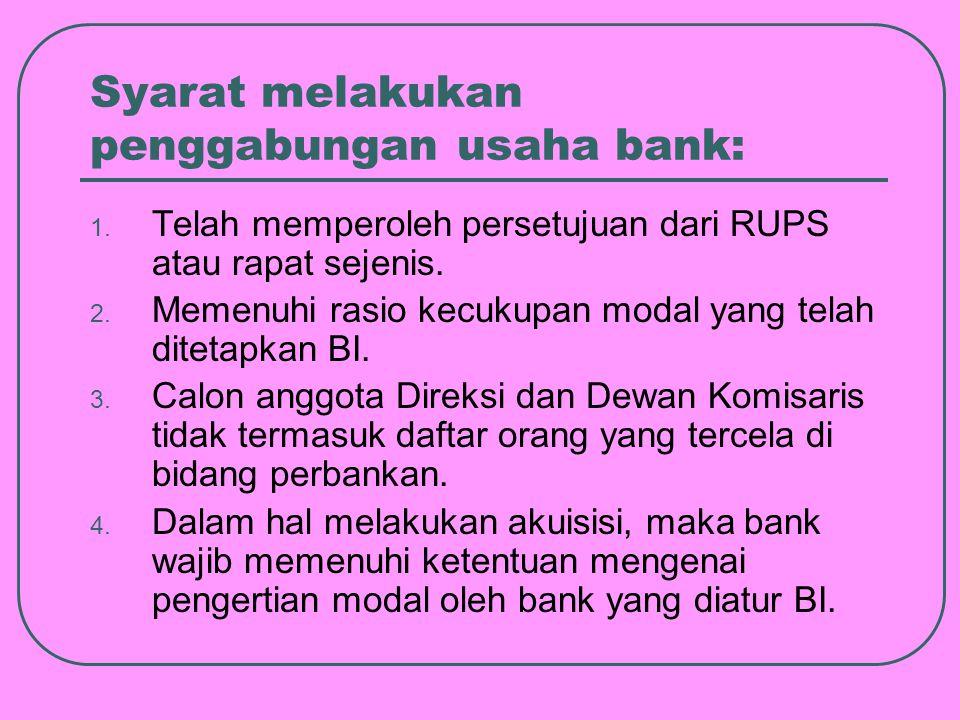 Syarat melakukan penggabungan usaha bank: