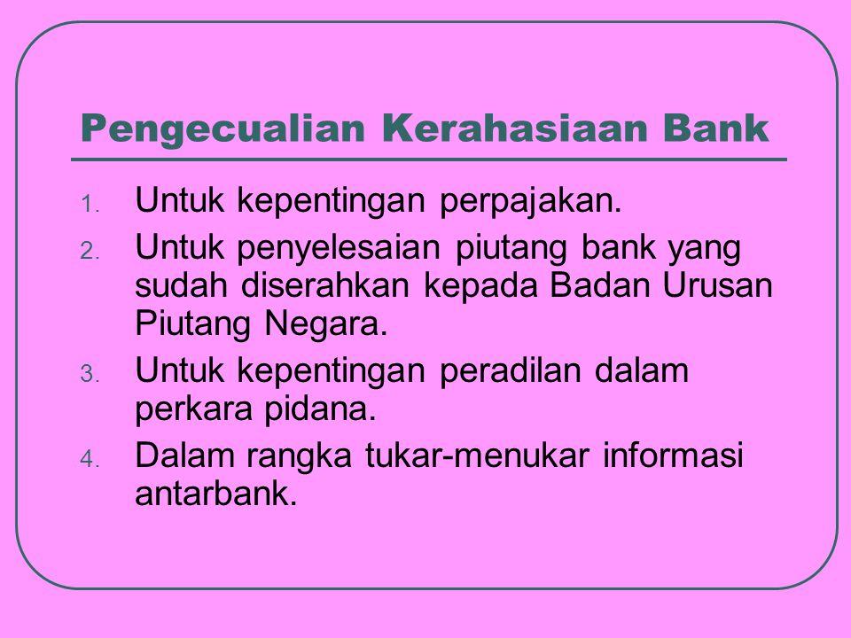Pengecualian Kerahasiaan Bank