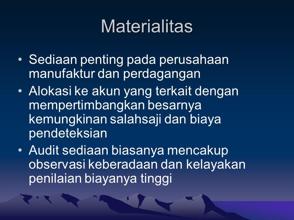 Materialitas Sediaan penting pada perusahaan manufaktur dan perdagangan.