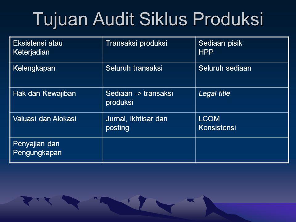 Tujuan Audit Siklus Produksi