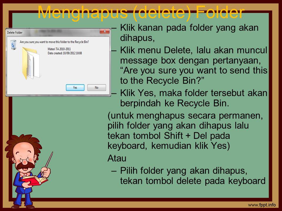 Menghapus (delete) Folder