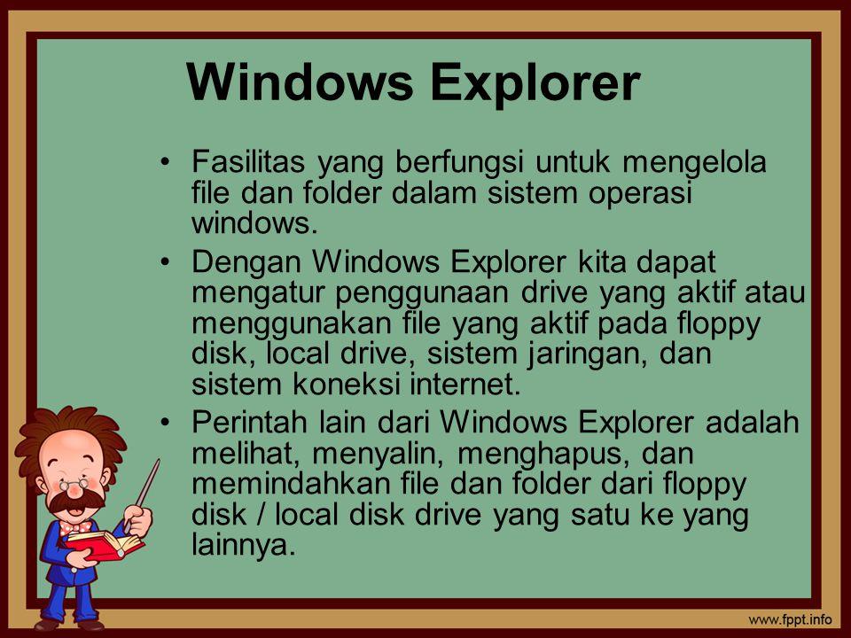 Windows Explorer Fasilitas yang berfungsi untuk mengelola file dan folder dalam sistem operasi windows.