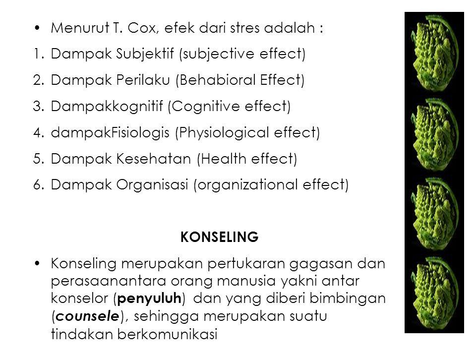 Menurut T. Cox, efek dari stres adalah :