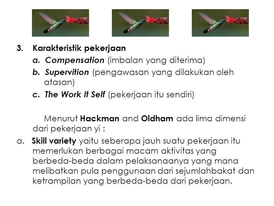 Karakteristik pekerjaan