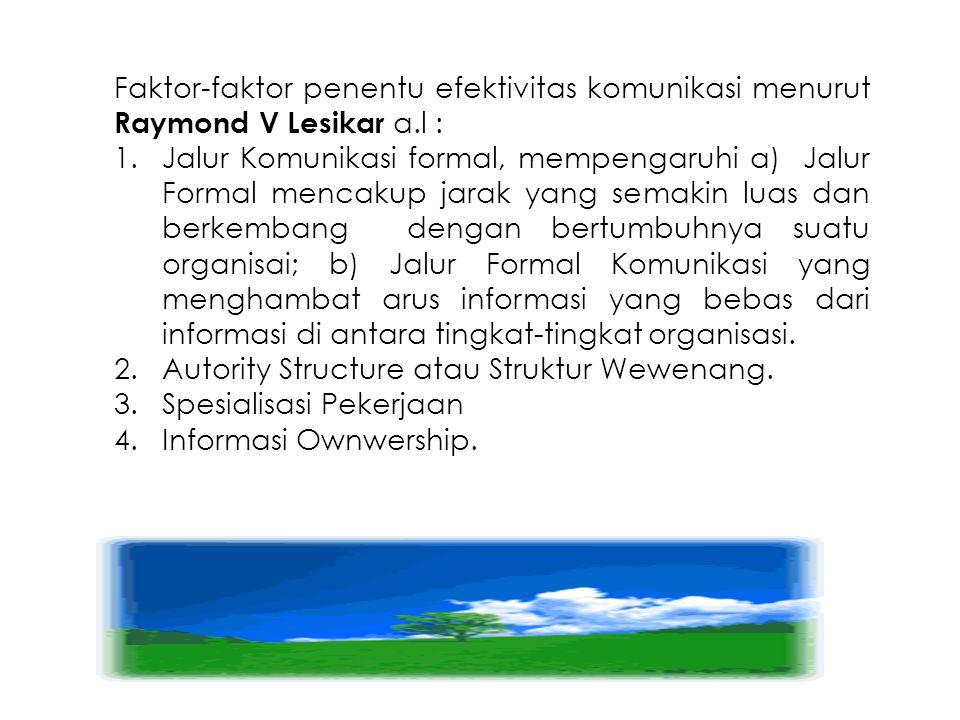 Faktor-faktor penentu efektivitas komunikasi menurut Raymond V Lesikar a.l :