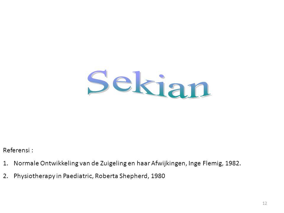 Sekian Referensi : Normale Ontwikkeling van de Zuigeling en haar Afwijkingen, Inge Flemig, 1982.
