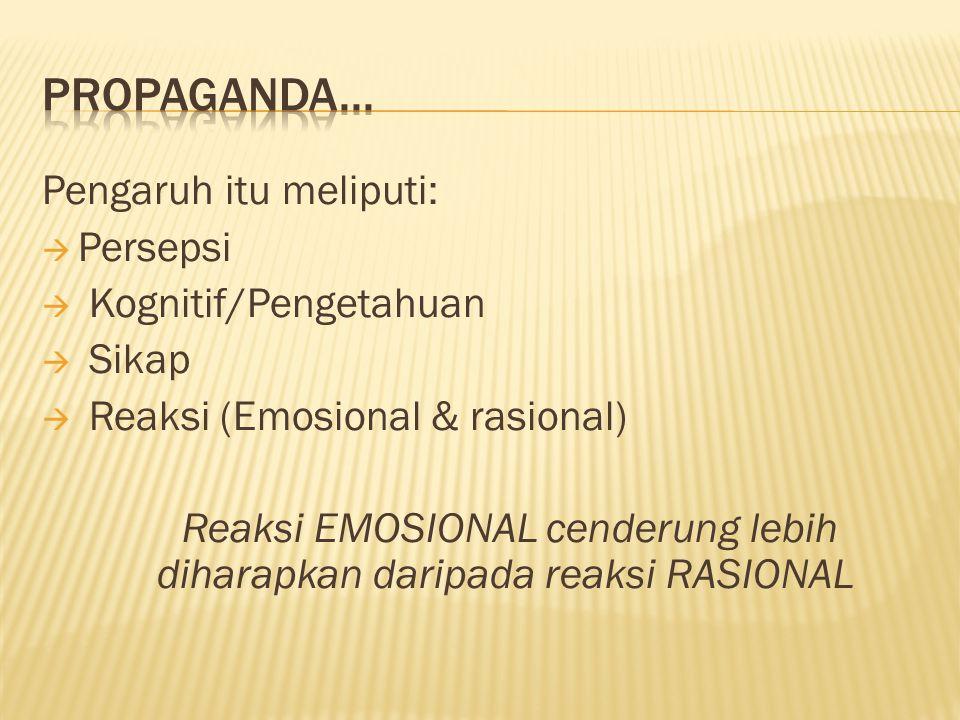 Reaksi EMOSIONAL cenderung lebih diharapkan daripada reaksi RASIONAL