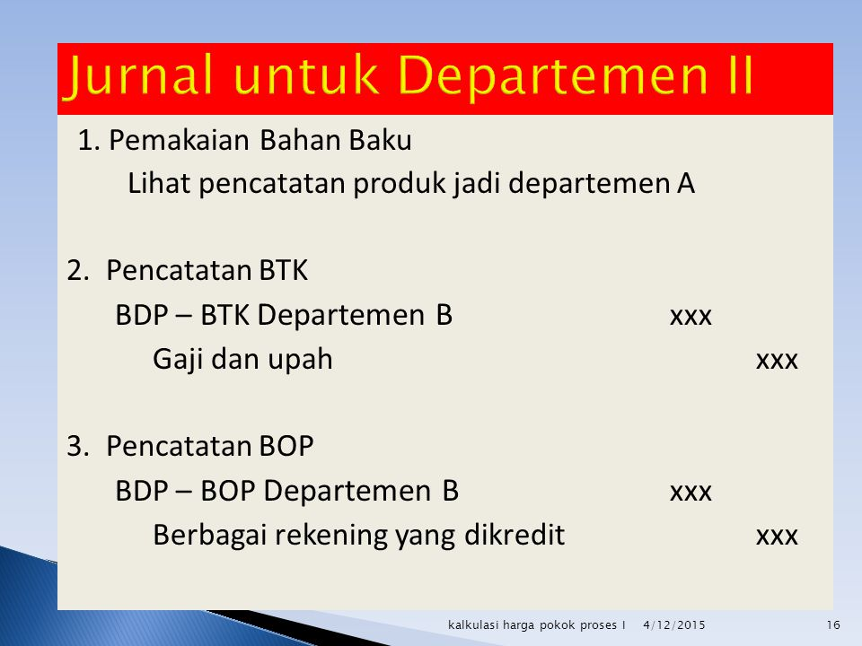 Jurnal untuk Departemen II