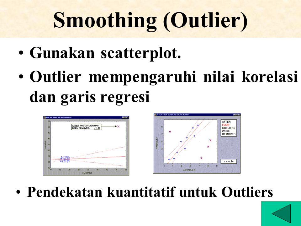 Smoothing (Outlier) Gunakan scatterplot.