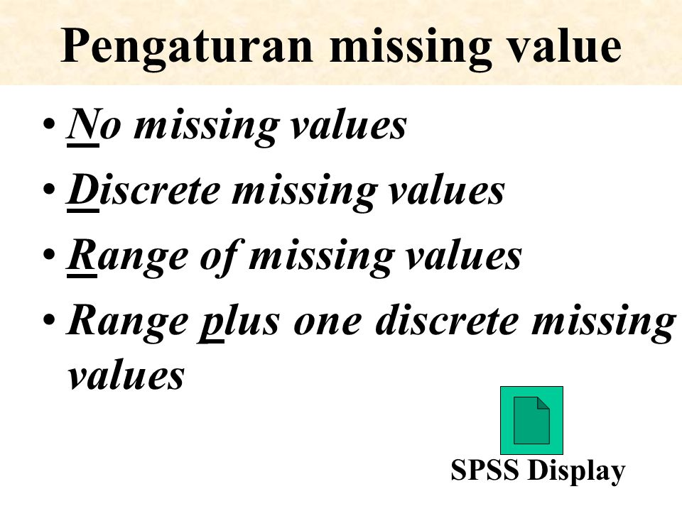 Pengaturan missing value