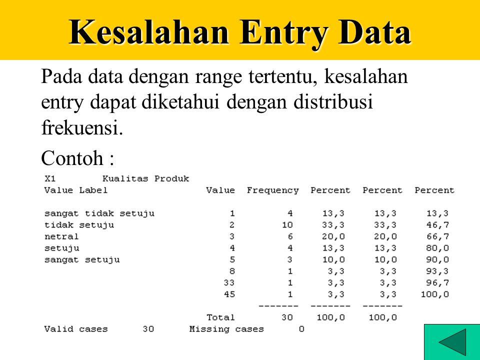Kesalahan Entry Data Pada data dengan range tertentu, kesalahan entry dapat diketahui dengan distribusi frekuensi.