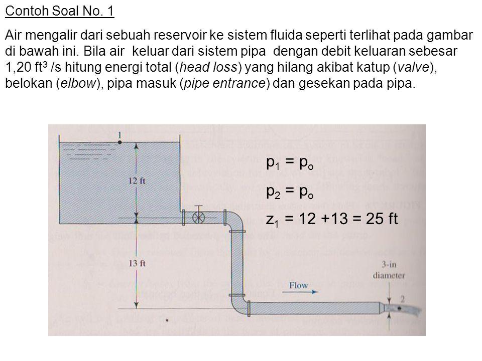 p1 = po p2 = po z1 = 12 +13 = 25 ft Contoh Soal No. 1