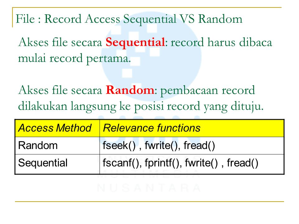 File : Record Access Sequential VS Random