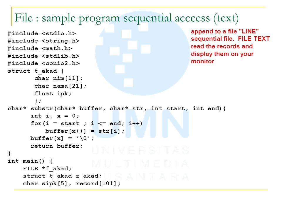 File : sample program sequential acccess (text)