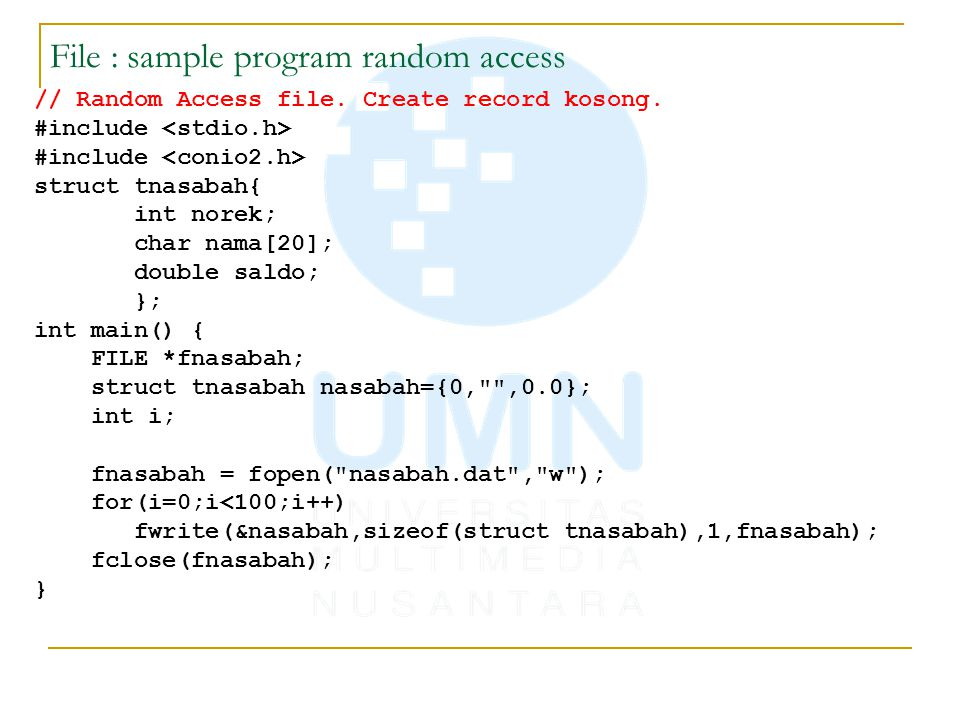 File : sample program random access