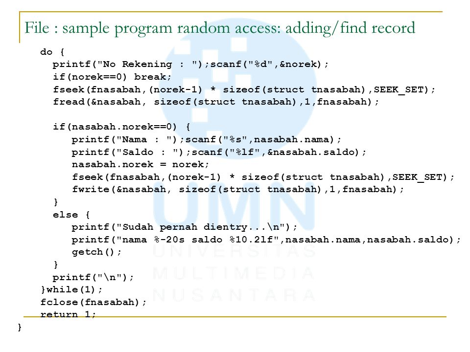 File : sample program random access: adding/find record