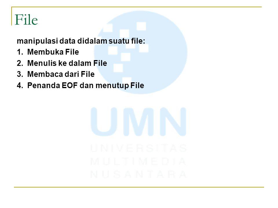 File manipulasi data didalam suatu file: Membuka File