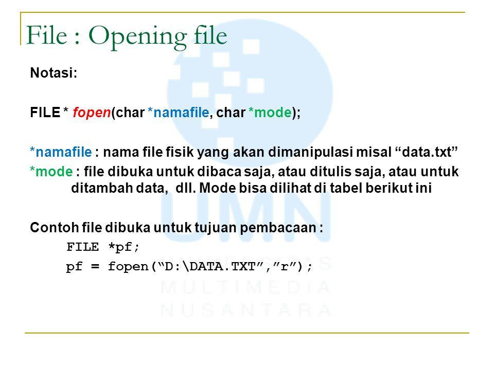 File : Opening file Notasi: FILE * fopen(char *namafile, char *mode);