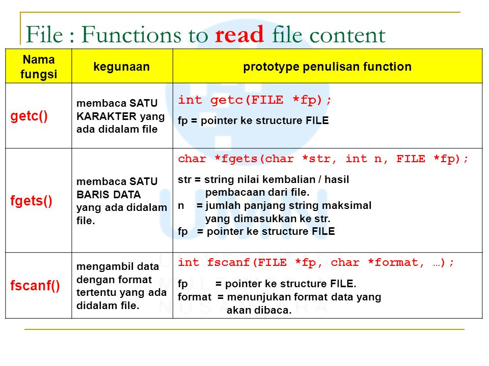 File : Functions to read file content