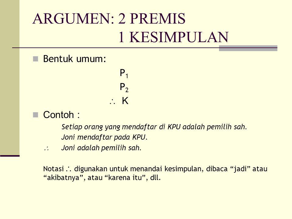 ARGUMEN: 2 PREMIS 1 KESIMPULAN